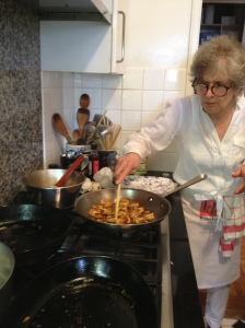 Karen Lee in her kitchen with Goan Shrimp
