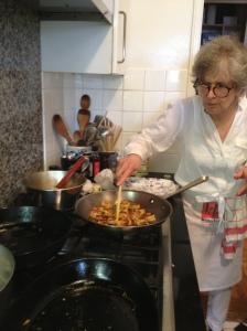 Karen Lee in her kitchen with Goan Shrimp