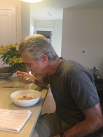 Joel eating Lobsta Pasta